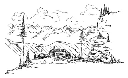 vector -   hut in the mountains in nature