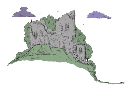 vector -  Castle landscape - isolated on background