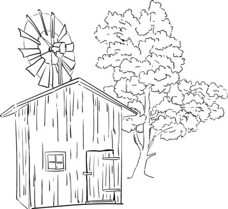 vector - old wind mill isolated on background