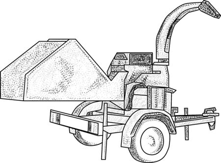 vector - wood chipper - isolated on background