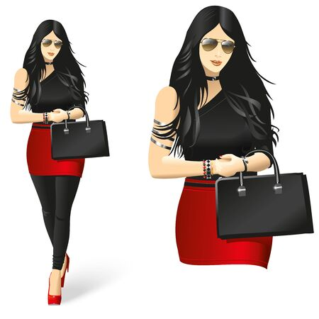 beatiful: Lady in black and red