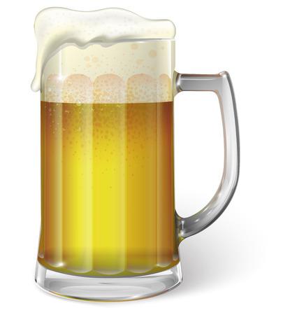 ビールつきマグカップ。ベクトル