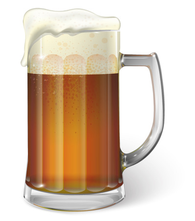 ale: Mug of ale. Dark beer. Vector Illustration