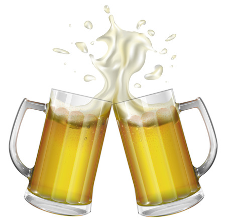 beer party: Two mugs with a light beer. Mug with beer. Vector