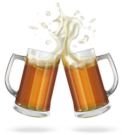 Two mugs with ale light or dark beer. Mug with beer. Vector