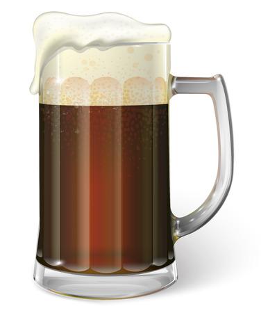 Mug of ale. Dark dark beer. Vector