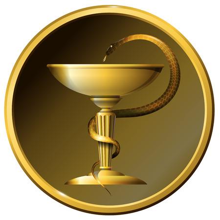aesculapius: Medicine snake symbol. Metal gold or bronze.