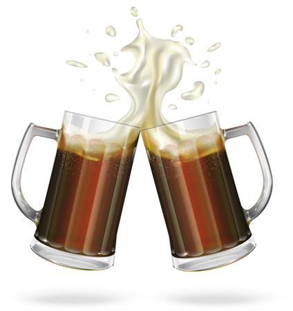 schwarzbier: Zwei Tassen mit Bier, Dunkelbier. Becher mit Bier. Vektor Illustration