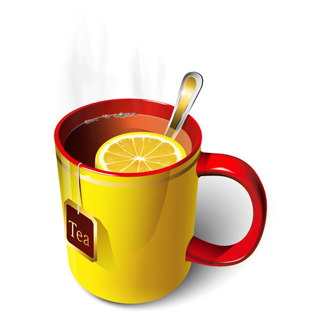Cup of tea yellow, red with a slice of lemon, with tea bag.