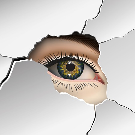 mur platre: Wall, plaster, Female eye closeup. Vector Illustration
