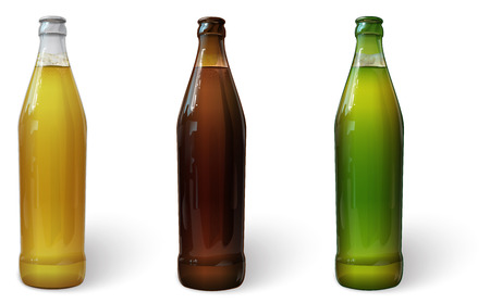 bar ware: Beer in a bottle. Green bottle of beer. Brown bottle of beer. Glass bottle of beer. Vector Illustration