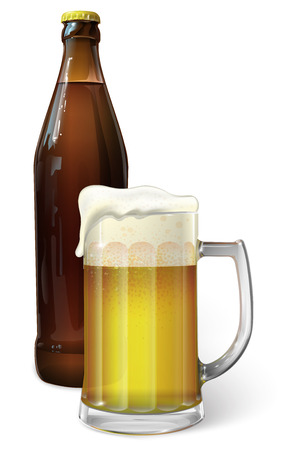 mug of ale: Mug with beer and beer in a bottle, vector