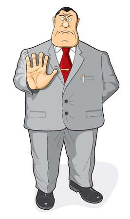 bureaucrat: The official, bureaucrat or businessman says no. Illustration