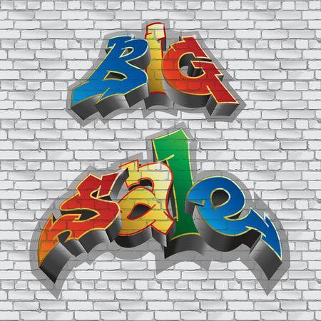 graffito: Big sale in graffiti style Illustration