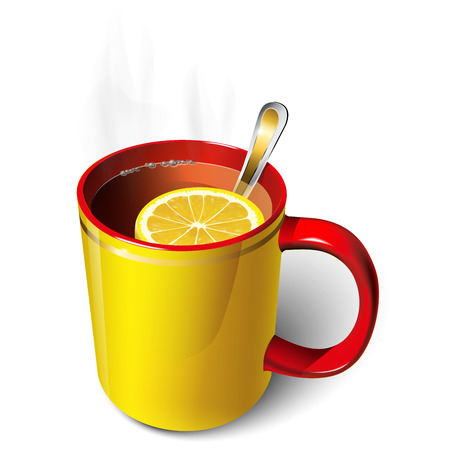 Yellow and red tea cup with a slice of lemon Vectores