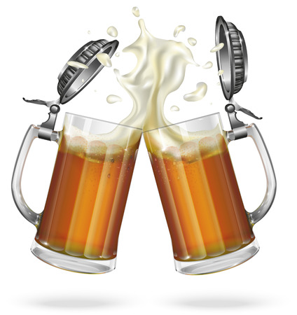Two mugs with cap with ale Vectores