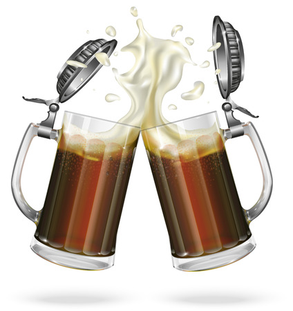 Two mugs with cap with ale, dark beer. Mug with cap with beer. Vector