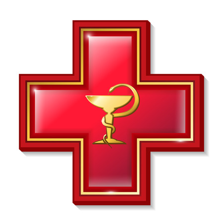 medical symbol: Health services sign, symbol. Medicine snake symbol, cross