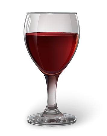 Glass wine glass with red wine. A realistic, transparent, vector.