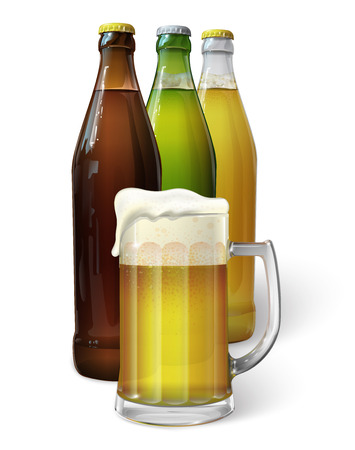 glass bottle: Mug with beer. Green bottle of beer. Brown bottle of beer. Transparent bottle of beer. Vector