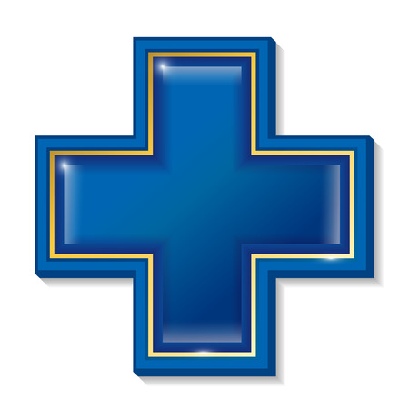 beauty surgery: Health services sign, symbol, cross blue.