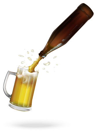 pour: Pour beer. Beer bottle. Mug with beer. vector