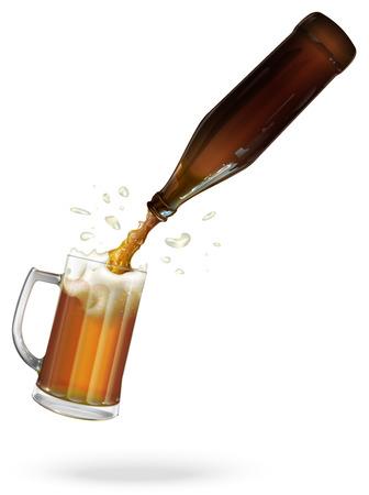 pour: Pour beer. Beer bottle. Mug with beer, ale. vector Illustration