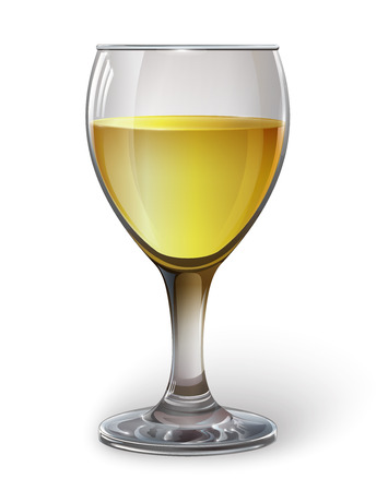 Glass wine glass with white wine, cider. A realistic, transparent, vector.