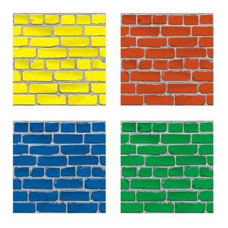 bakstenen muur: Painted brick. Brick wall. Background. Vector Stock Illustratie