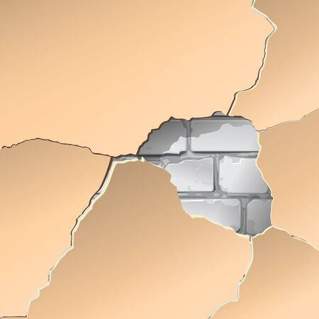 mur platre: Plaster, paint, repair. Background. Brick wall. gray. Vector