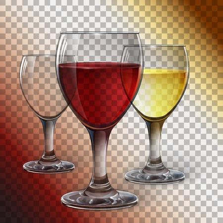 레드 와인, 화이트 와인, 사과 쥬스와 유리 와인 유리. 현실적인, 투명, 벡터.