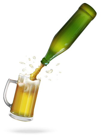 bar ware: Pour beer. Green bottle of beer. Mug with beer. Vector Illustration