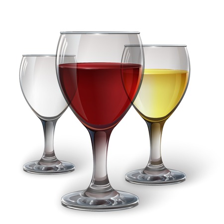 chianti: Glass wine glass with red wine, white wine, cider. A realistic, transparent, vector.