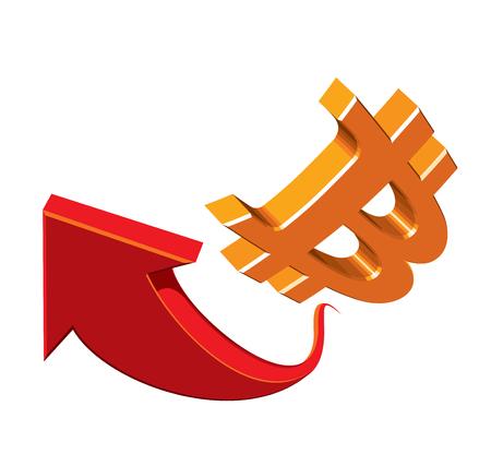 stockbroker: Bitcoins - virtual money. Symbol. Red arrow.