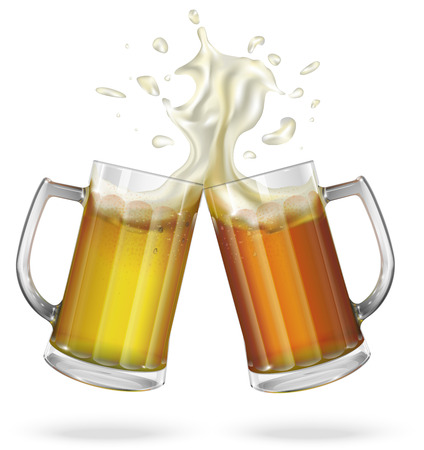 ale: Two mugs with ale, light or dark beer. Mug with beer. Vector