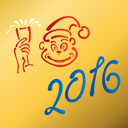 Year of the red monkey new year 2016