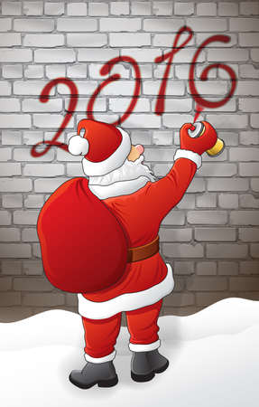 illustration and painting: Santa draws 2016 on the brick wall at night