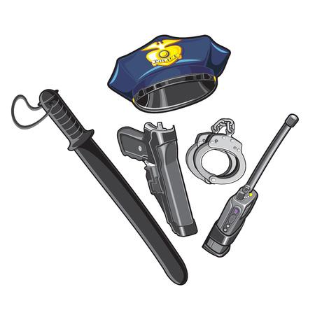 baton: Police cap, baton, handcuffs, walkie-talkie