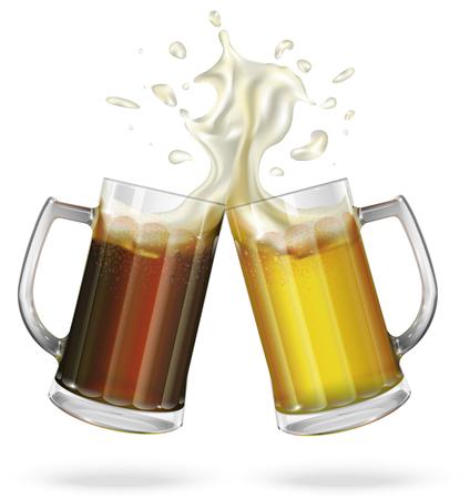 Zwei Becher mit Bier, hell oder dunkel Bier. Becher mit Bier. Vektor