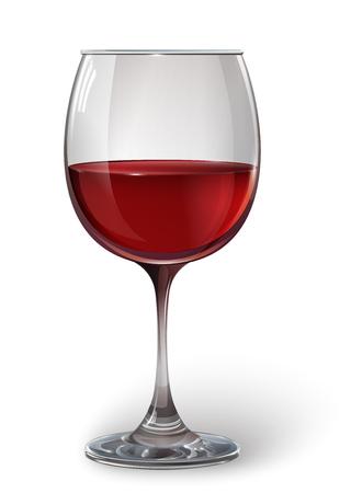 Bicchiere di vino bicchiere di vino rosso. Un realistico, trasparente, vettore.