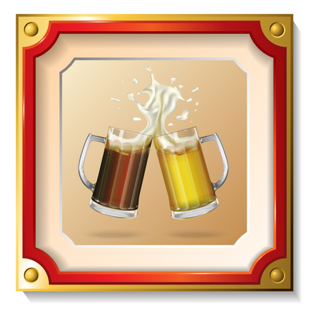 Two mugs of beer in the frame