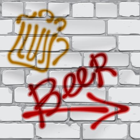 """Writing """"beer"""". Graffiti. Brick wall Vector Illustration"""