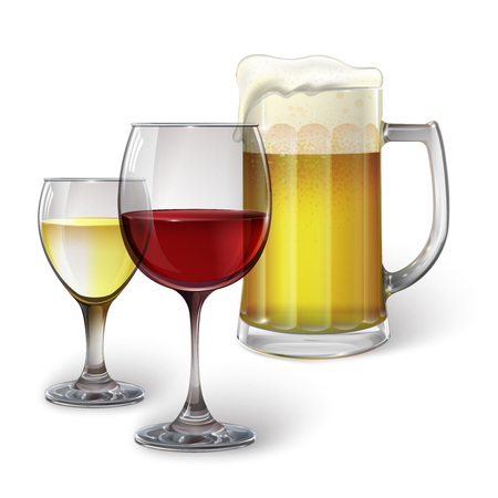 Cocktail glass, wine glass, mug with beer Vectores