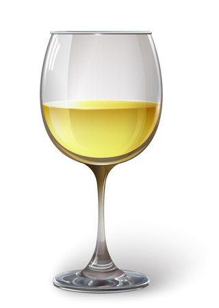 Glass wine glass with white wine. Vector