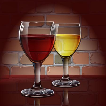 copa de vino: copa de vino de cristal con vino tinto, vino blanco, sidra. Un realista, transparente. Pared de ladrillo. Vector. Vectores