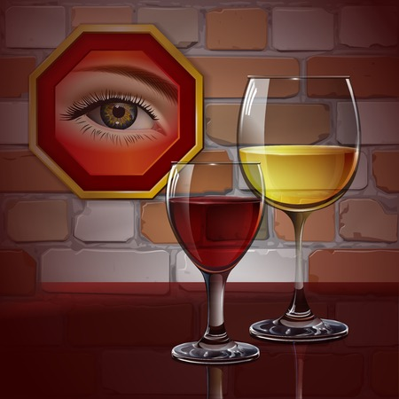 eye glass frame: Glass wine glass with red wine, white wine, cocktail, cider. Female eye in the frame. A realistic, transparent. Brick wall. Vector. Illustration