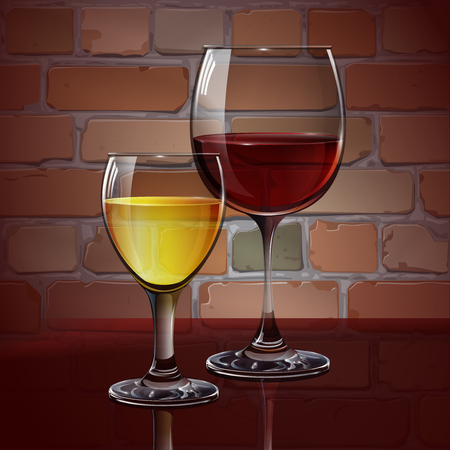red wine: Glass wine glass with red wine, white wine, cocktail, cider. A realistic, transparent. Brick wall. Vector.