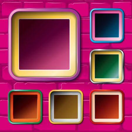 Samples of frames on a brick wall. Vector Vectores