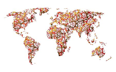 Map of the earth, communication, net, roads or abstraction