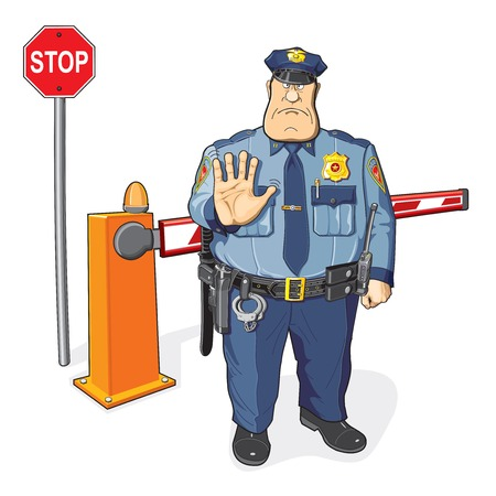 border patrol: Policeman, barrier, stop sign. The ban, border, customs and immigration